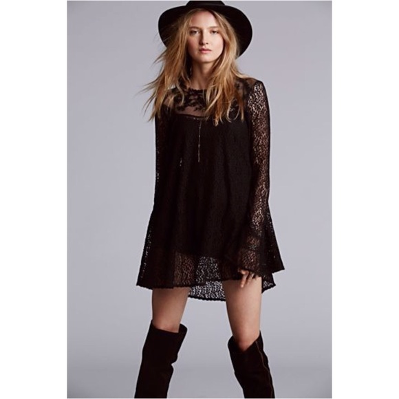 be1bdcc8385f Free People Dresses & Skirts - Free People Rodeo Bella Trapeze Lace Swing  Dress S